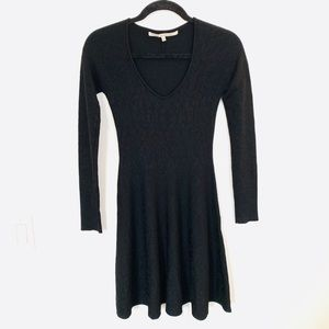 Rachel Roy Black Long Sleeve Flare Mini Dress EUC